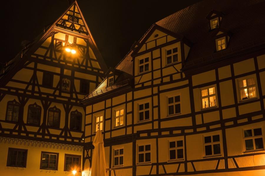žiarovky, windows, noc, architektúra, budova, exteriér