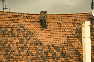 roof, chimney, sky, roof tiles, antenna, cloudy