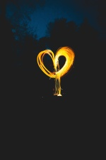night, shape, tree, figure, heart, hot, light