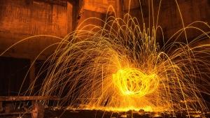 火花、明るく、光、金属、芸術