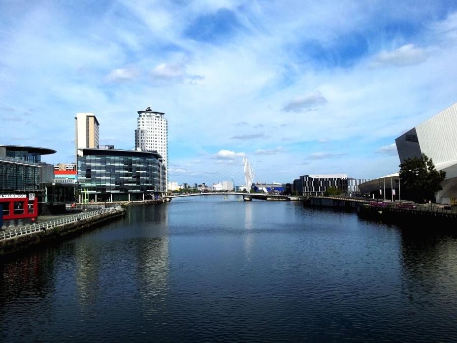 Gebäude, Gewässer, blau, Himmel, Hafen, Landschaft, modern