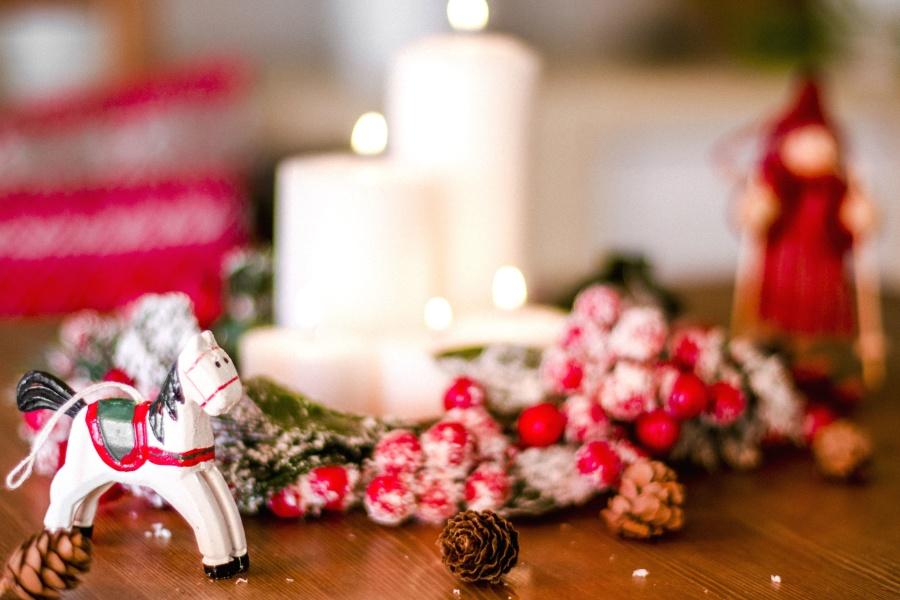 Jul, dekoration, stearinlys, fest