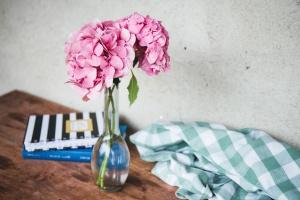 Dekoration, Stillleben, Hortensie, Blumen, Tisch, Vase, Blüte