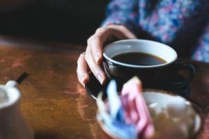 coffee cup, drink, hand, coffee mug, table, caffeine, coffee