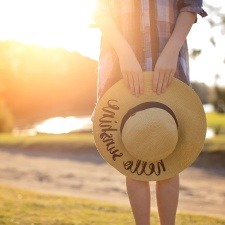 Sun, glare, woman, hands, hat, photo model, beach