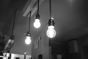 light bulb, lights, monochrome, glass