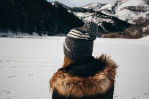 personne, neige, hiver, fille, manteau