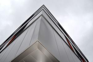 külső, homlokzati, elmélkedés, ég, ablak, építészet, épület, sarok, üveg