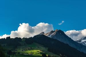 nube, colina, paisaje, montaña, volcán