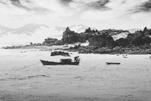 rocks, sea, water, watercraft, boat, fisherman, island