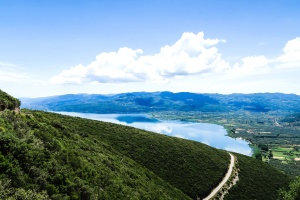 sky, hills, summer, landscape, mountain, tree, valley, water