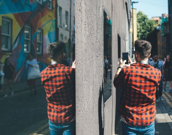 jeans, man, pavement, reflection, street, urban