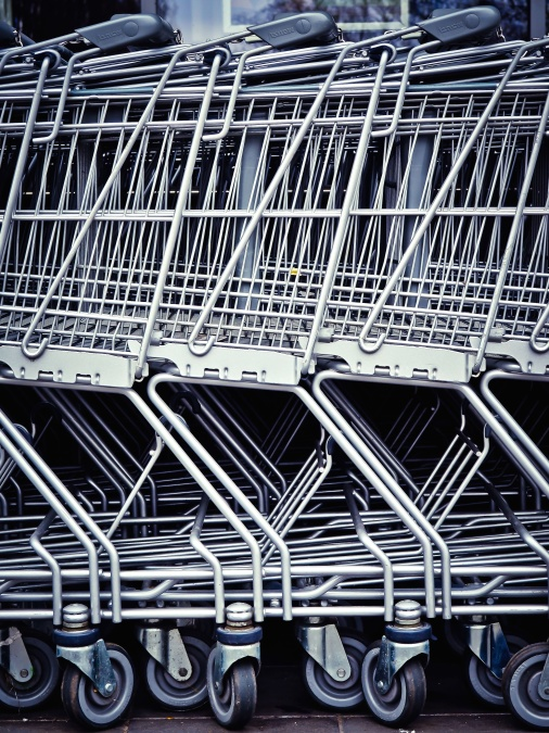aluminum, shopping cart, steel, grocery cart