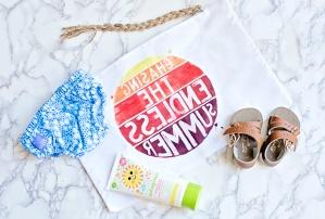 Playa, tarjeta, celebración, baño, regalo