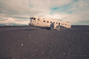 old, aeroplane, sand, abandoned, vehicle