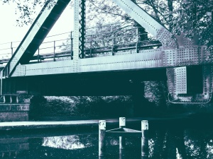 bridge, construction, river, steel, architecture, tree, water