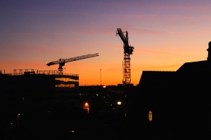 machine, night, scaffolding, silhouette, sun, architecture, building