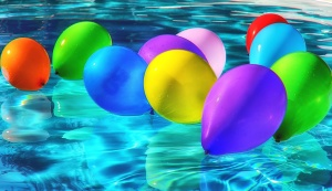 swimming pool, balloons, birthday, vacation, water