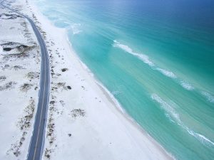 sea, beach, road, sand, water