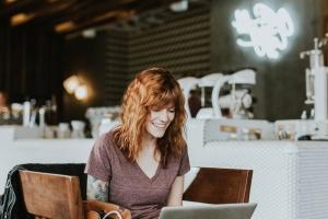 tecnología, mujer, trabajo, negocio, silla, ordenador portátil
