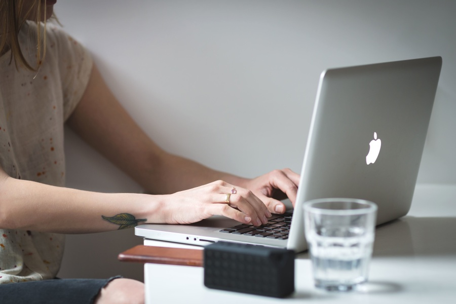 woman, work, writing, business, laptop computer, wireless connection, desk