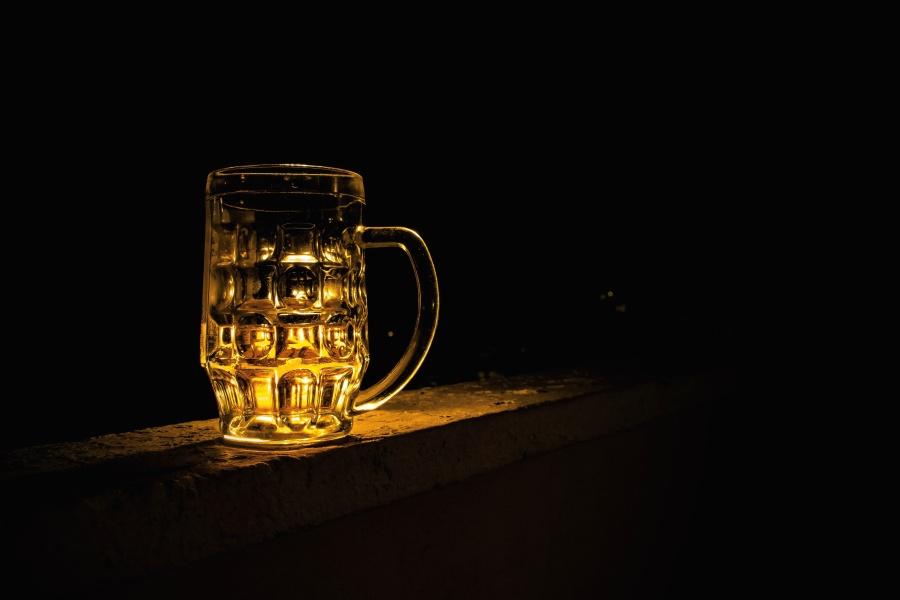 verre, boisson foncée, chope,