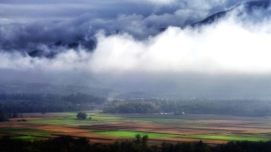 landscape, mountain, cloud, cropland, field, fog