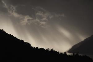 mountain, silhouettes, sky, tree, lake, water