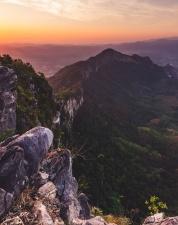 tree, valley, cliff, cloud, sky, sun, landscape, light, mountain, nature
