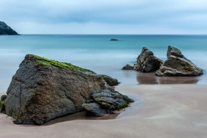 rocks, sand, sea, beach, nature, sky, water