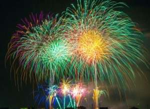 night, sky, celebration, colorful, fireworks, lights