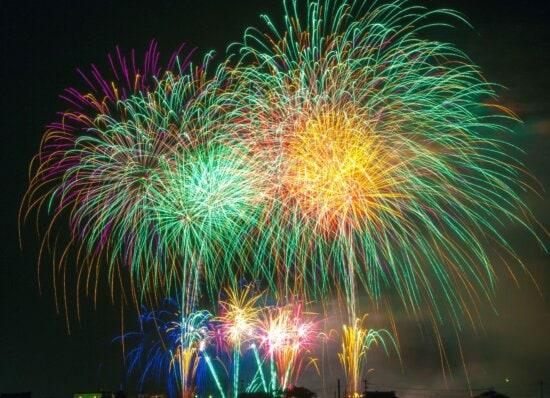 night, sky, celebration, colorful, fireworks, lights