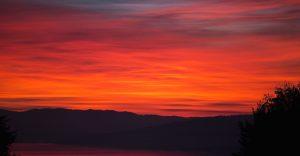 fjell, vann, solnedgang, skumring, silhuett, himmelen