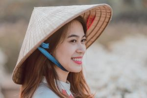 portrait, face, Vietnam, woman, young girl, fashion, hairstyle, happy, hat