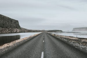 river, road, rocks, sky, water, asphalt, cloudy, fog