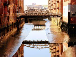 sun, travel, urban, water, architecture, bridge, buildings, canal, city