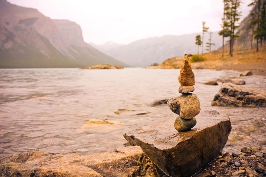 agua, playa, río, rocas, equilibrio, árbol, cielo