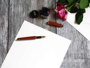 ink, note, paper, pen, romantic, rose, table, wooden
