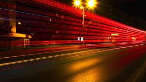 модерни, движение, нощ, път, улица, трафик, градски, архитектура, асфалт, сгради
