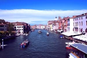 Městská, voda, obloha, lodě, budovy, kanál, architektura