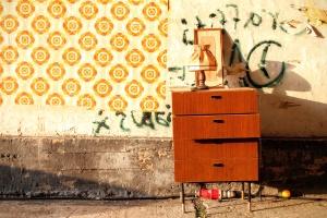 lamp, pavement, wall, drawers, graffiti