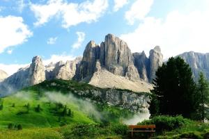 树木, 国家公园, 山谷, 树林, 长凳, 云, 天空
