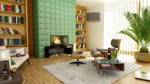 kanapé, asztal, ablak, apartman, építészet, növény, szoba, szőnyeg