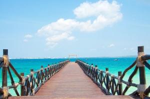 tropique, vacances, bambou, plage, eau, planches de bois