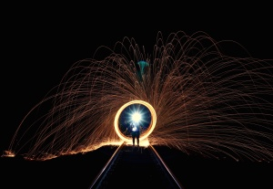 sparks, railway, bright, circle, contrast, flame, flash