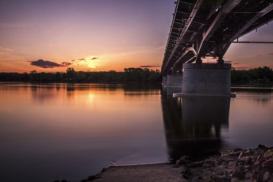 太陽、旅行、橋、木、水、反射、川