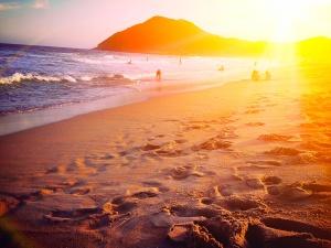beach, summer, sand, footspep, dusk