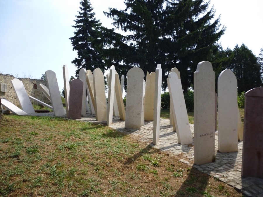 grave, cemetery, monument, conifer tree, grass, path, sky
