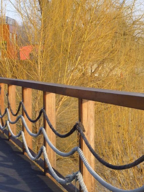 kayu, tali, pagar, jembatan