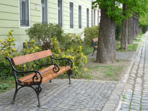 bench, tree, building, flower, grilles, garden